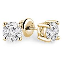 1.00TCW Natural Brilliant cut Diamond Studs in Yellow Gold