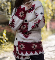 Top modern design 100% Woolen Sweaters Cardigans Nepal White and Red Combo Color