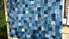 Beautiful wholesalr price indian design handmade patchwork Blue Jean Denim Quilt - Upcycled Denim Patchwork Quilt