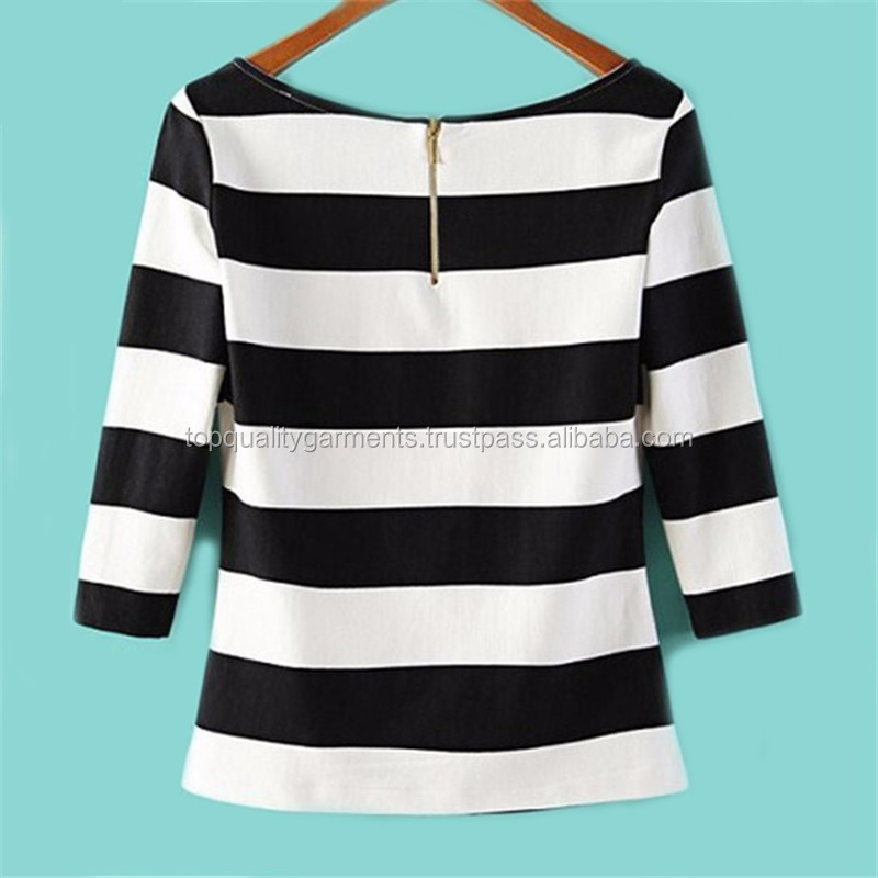 Strip Black and White Cheap Wholesale Tee T-shirt Cotton Polyester Cheap High Quality Fit Round Neck Screen Print