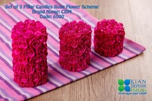 Set of 3 Pillar Candles Rose Flower Scheme