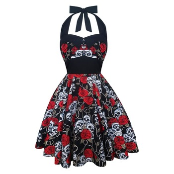 Rockabilly 50s Skulls Roses Halloween Goth Emo Punk Costume Petticoat Pin Up Gothic Punk Vintage Psychobilly Party Swing Dress