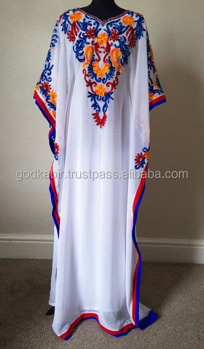 Stylish White Embroidery Long Caftan/Designer Party Wear Dress For Women