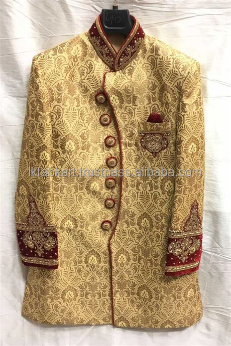 Wholesale Men Wedding / Ceremony Wear Golden Brocket Indo Western Suit