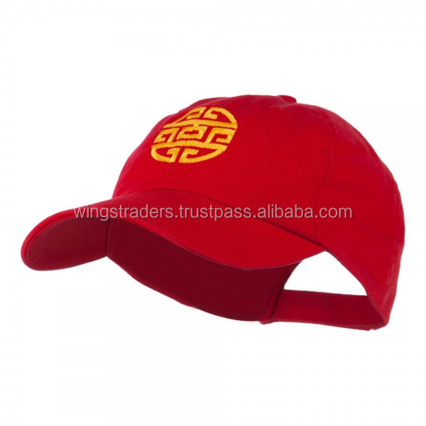 Hot Sale Circular Oriental Design Embroidery Cap - Red Baseball Army Cap
