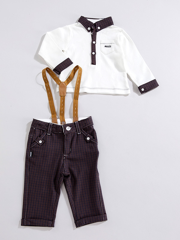 Polo sweater buttoned body, and Gabardine Pants for kids