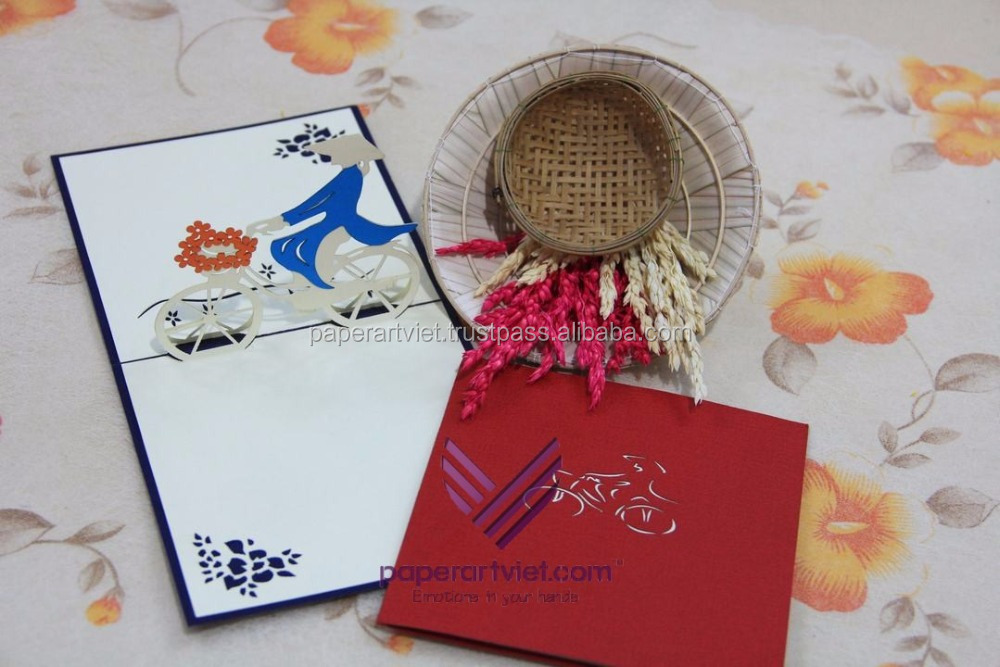 3D pop up card woman and bicycle, woman in viet nam