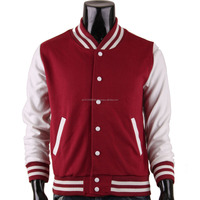 Custom made contrast color sleeves coat /men baseball jackets /casual varsity jacket for men
