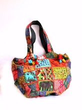 Vintage Indian handmade Old Style Patchwork Handbag Beaded Purse Indycled kantha traditional Shopper New Shoulder bag