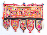Kutch Embroidered Door Hanging /Home Decor Valance Cotton Topper Toran/Vintage Boho hippie Embroidered toran
