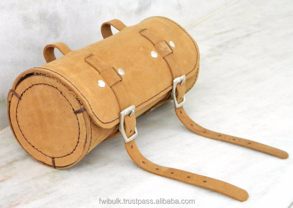 Wholesale Handmade Small Leather Bag Tool Organizer Bag For Bike Nubuck