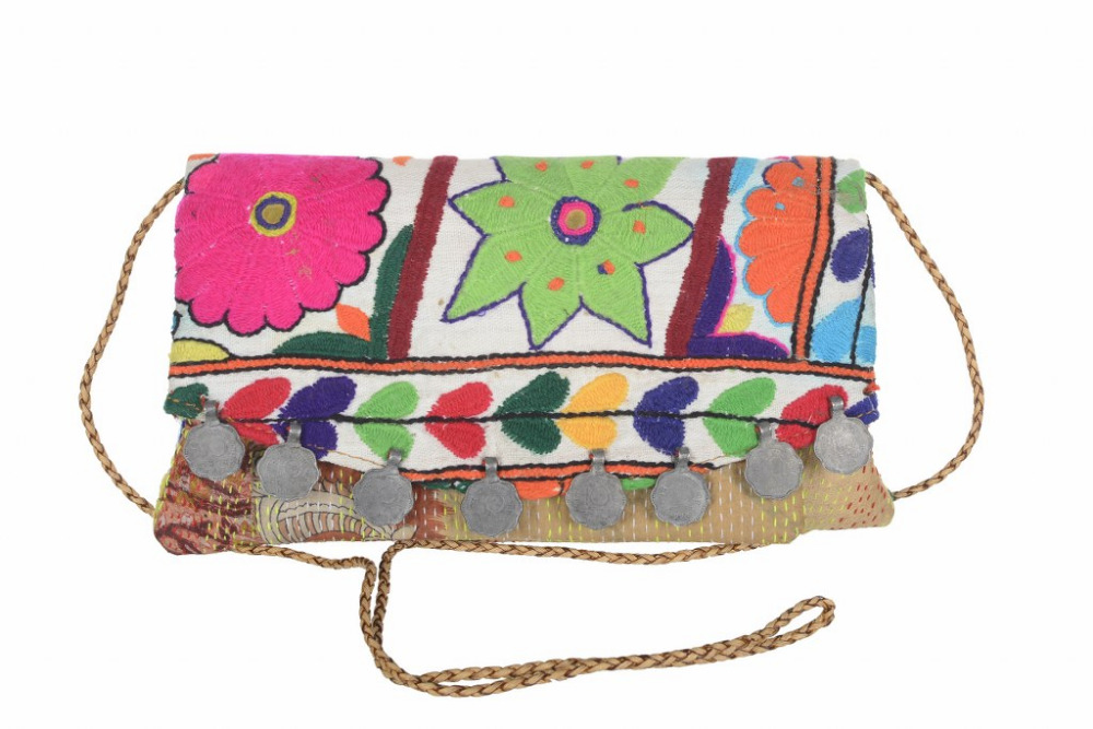 Vintage Embroidered Handbags Ethnic Kantha Habdbags Clutch Evening Bags Shoulder sling Bag