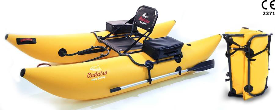 ONDATRA Inflatable PVC Fishing Pontoon Boat with Foldable Aluminum Frame & popular Accessories. Weight 27 lbs (12 kg)! Yellow