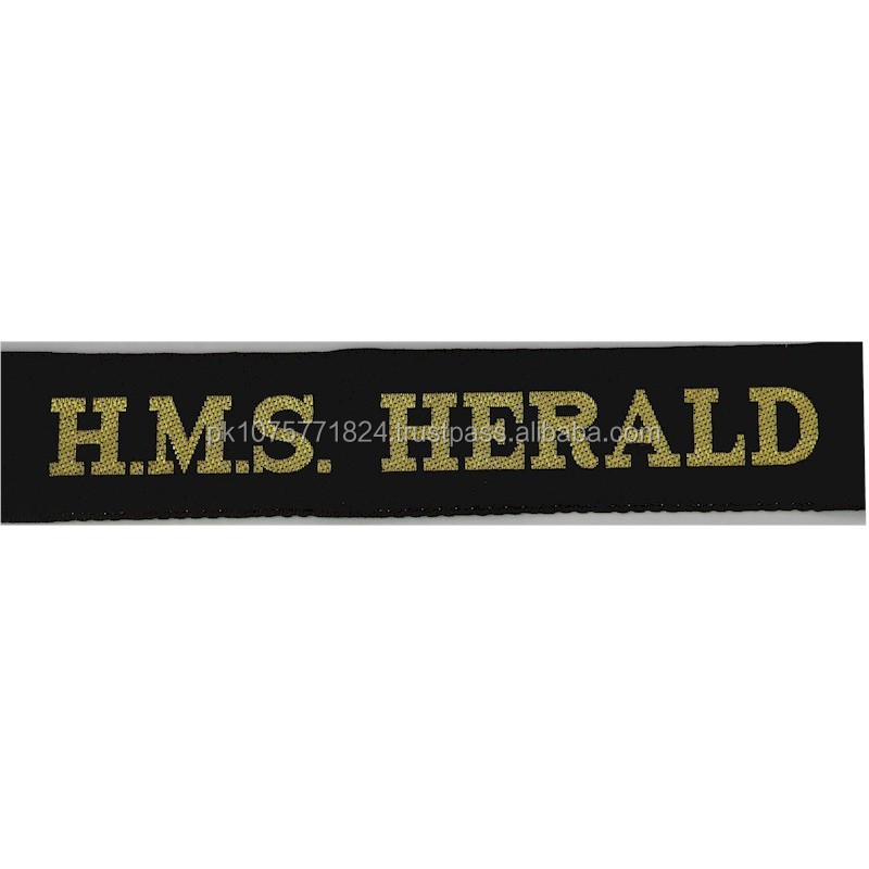WOVEN BADGES HMS Herald (Hydrographic Survey Ship) Cap-Tally Woven Naval cap badge or cap tally