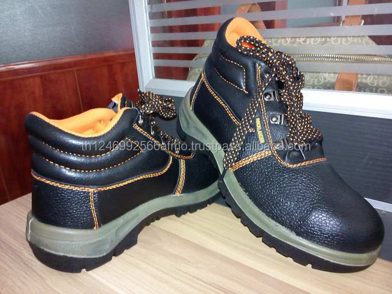 High quality embossed cow leather safety shoes with steel toe
