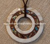 Big buffalo horn pendant necklace with mother of pearl inlay, size 10cm diamter