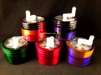 63 MM 4 Part Metal Handle Herb Grinder : Multi Color : Glass Smoking Pipes