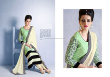 Glossy Liril Green Georgette Churidar Suit/churidar suits for women