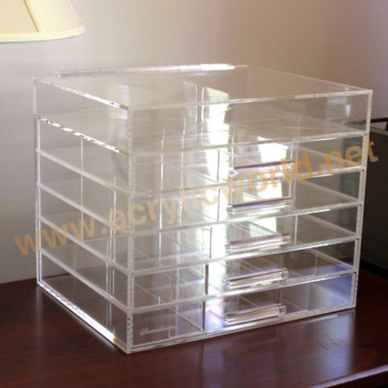 6 drawer lucite makeup organizer