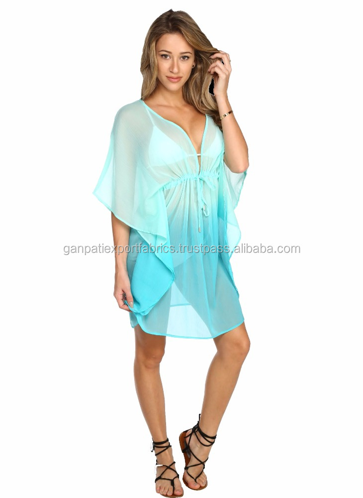 2016 Hot Summer's Beachwear Collection Girls Wear Georgette Tie & Dye Kaftans Beach Cover Ups