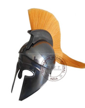 Black Antique Greek Corinthian Armor Helmet with Yellow Plume ~ Collectible Greek Armour Helmet Replica Larp Gift