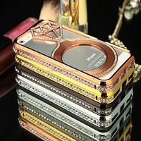Luxury Custom Design PC Metal Hard Bling Mobile Phone Case For Iphone 5s Iphone6 Iphone6s Mobile phones