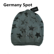 High quality fashion stars hat knitted winter ladies hat with Acrylic drilling