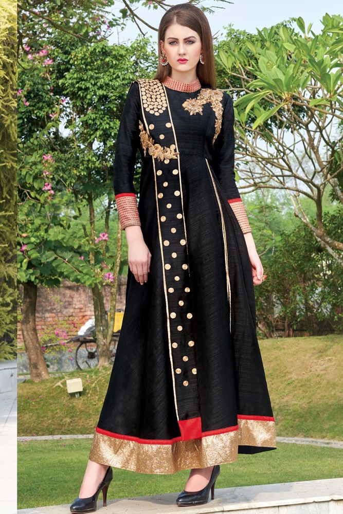 Black & gold grand tussar silk salwar