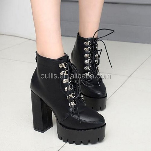 2017 Sexy Chunky heel lace-up ankle boots for hot-selling lace up Martin half boots PF4419