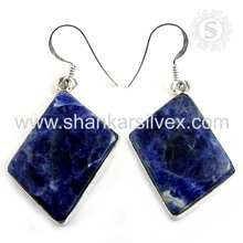 heaven Blue Earring Handmade 925 Sterling Silver Jewelry Supplier Indian Silver Jewelry