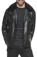 Leather Jacket with Genuine Fur Collar / Men leather jacket