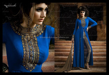 Blue Resham Work Georgette Salwar Suit