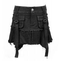 Gothic Black denim skirt with belts and pockets.
