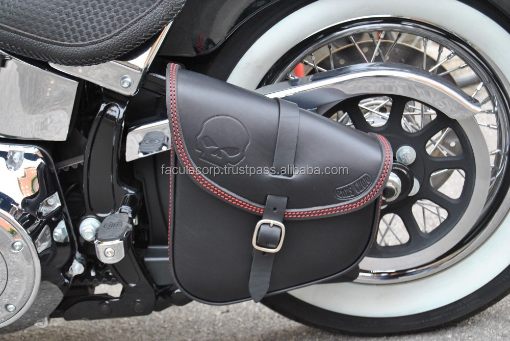 SADDLE BAG SWING ARM BAG FOR SOFTAIL ITALIAN LEATHER QUALITY FC-34068