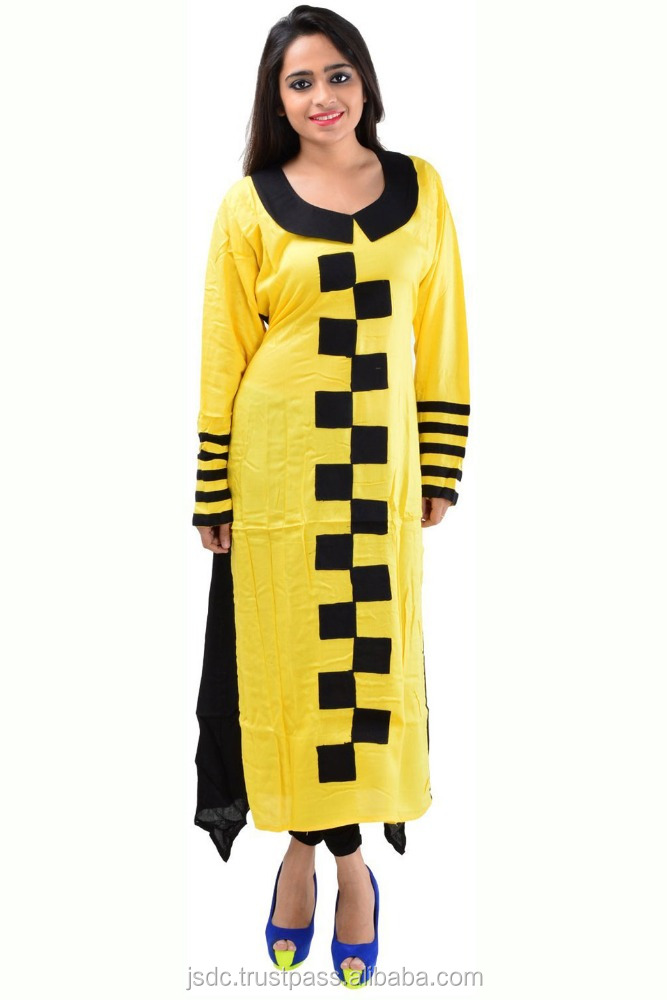Catchy Yellow And Black Color Rayon Designer Long Kurti Manufacture