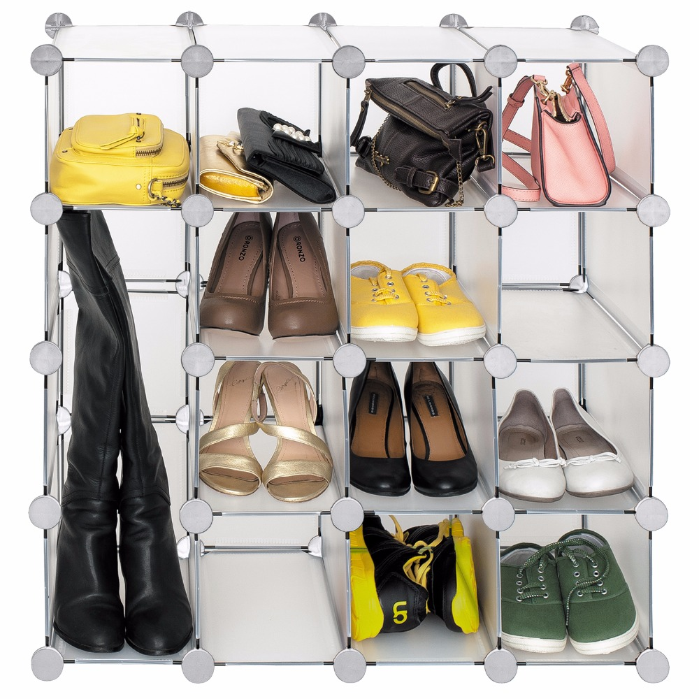 Tatkraft Smart Interlocking Storage Shelves Cube Modular Shoe Rack Book Shelves Multi-Function Organizer