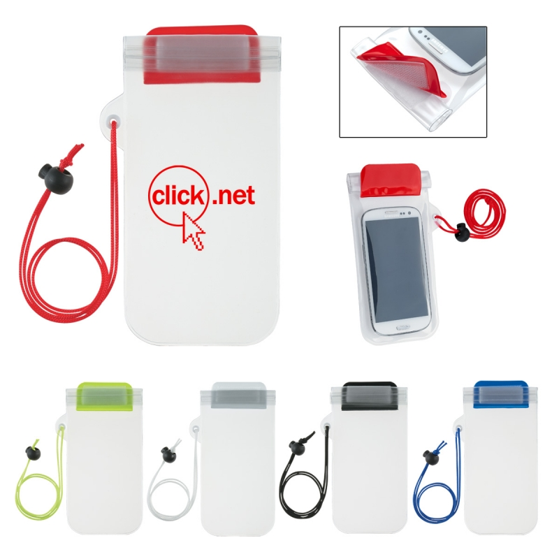 Waterproof Phone Pouch With Cord - fits most smartphones, features a zip lock and hook & loop closure and comes with your logo