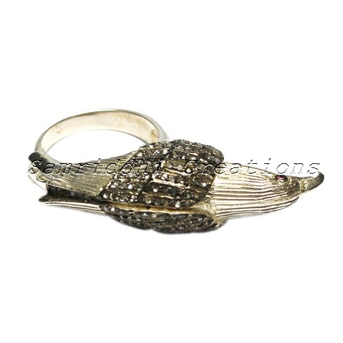 Bird Shape Diamond Gold Plated 925 Sterling Silver Pave Setting Ring, Indian Diamond Jewelry Manufacturer, Unique Silver Jewelry