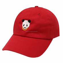 Red Cap, Panda Embroidery Cotton Baseball Hat