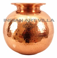 Indian Art Villa Pure Copper Designer Water Pot Dispenser Container Storage Yoga Tank Home Drinkware Hammered Jug Pitcher