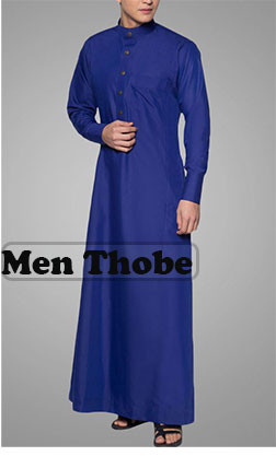 Wholesale Hot selling Muslim Men's Thobe Hooded Denim Abaya