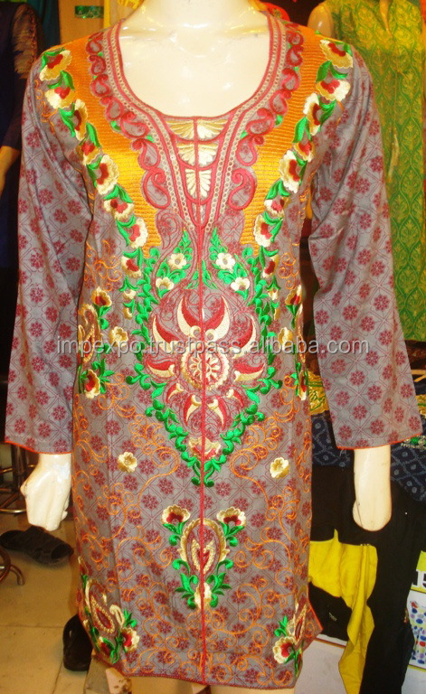 Ladies kurta design / Kurta embroidery designs women full sleeve cotton kurti