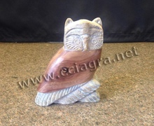 Natural Soapstone & Wood Owl Animal Carvings