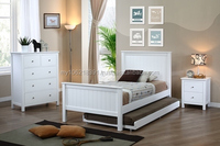 Kids bedroom furniture in white (single bed, chest of drawers, bedside table)