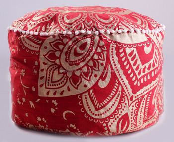 Indian 2017 Handmade Manufactures Ombre Mandala Design Ottomans Wholesale Red Pouf covers