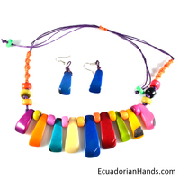 Necklaces And Earrings - Handmade Eco Ivory Tagua Jewelry (Jc001-E)
