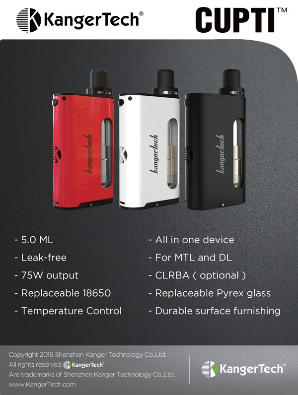 Big Promotion ! Newest electronic cigarette Kanger CUPTI 75W mod TC kit, 5ml top filling plus leak-free CUPTI
