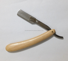 100% Wood Handle Shaving Straight Razor with Replaceable Blades