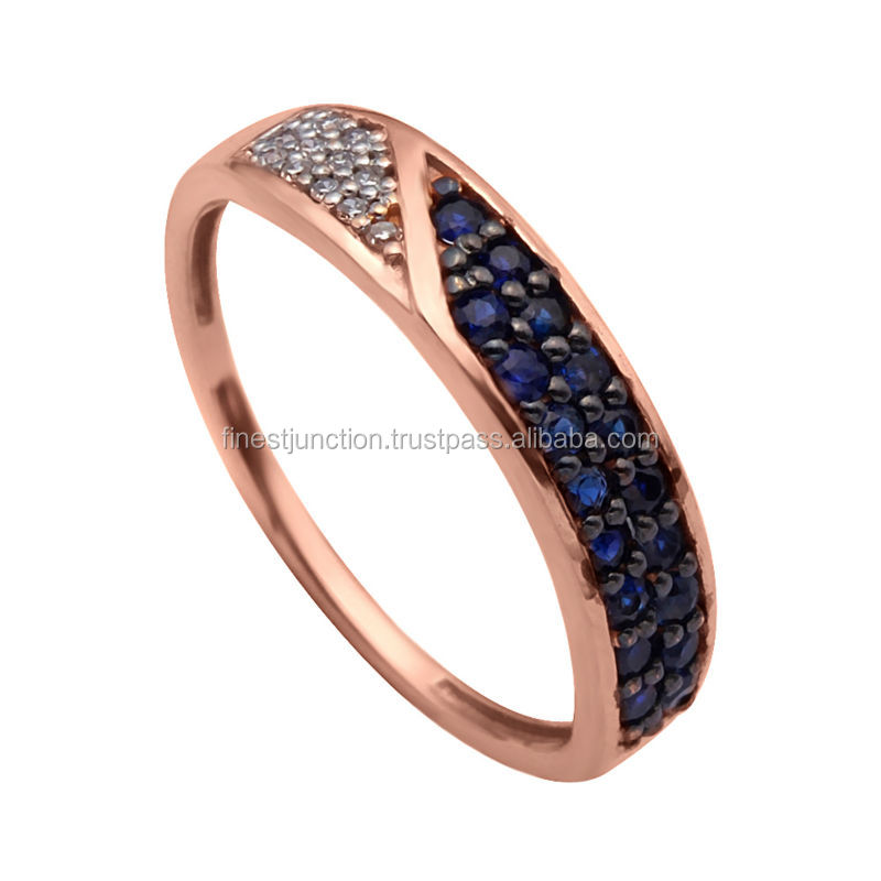 Men's Design 14K Gold Jewelry Ring Half Set Sapphire Earring Fashionable Modern Gold Gift