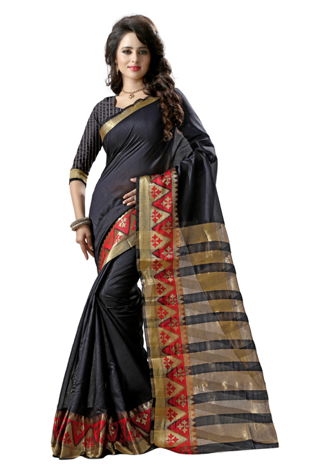 WOMEN'S ETHNIC WEAR TUSSAR SILK BLACK COLOUR sarees in surat